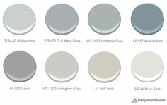 Silver Satin for exterior? Birch Paint Palette - neutral Benjamin Moore paint colors recommended by Sarah Richardson