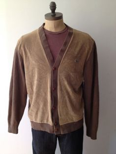 Vintage MENS Izod Lacoste tan and brown cardigan by pandaJpanda, $32.00