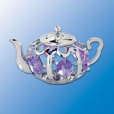 Teapot Suncatcher - Swarovski Crystal Elements  --  Here's a pretty little non-whistling teapot all clad in sparking chrome with Swarovski crystal elements. Guaranteed to put a smile on your face.