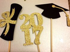 Graduation Centerpiece Sticks 2017, Graduation Party, Party Decor, Graduation Decorations, Graduation, Class of 2017 , Party