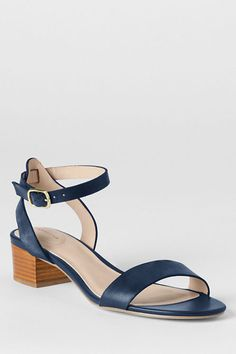 Women's Amalia Ankle Strap Sandals from Lands' End in Deep Sea