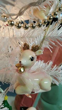 2016 Target pink reindeer ornament retro style