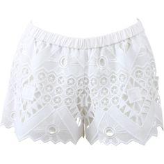 Alexis Gillian Crochet Shorts (2.435 NOK) ❤ liked on Polyvore featuring shorts, bottoms, elastic waist shorts, elastic waistband shorts, crochet shorts, slim fit shorts and white crochet shorts
