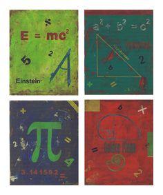 Distressed Math Symbol Wall Art