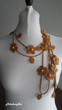 Crochet Necklace,Crochet Neck Accessory, Flower Necklace,Spicy Mustard Colour,Dark Yellow, 100% Cotton.