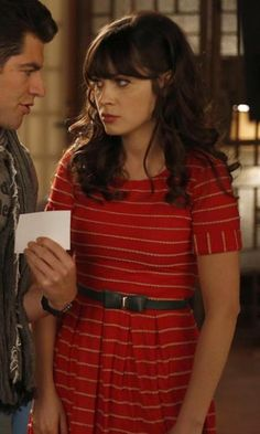 Zooey Deschanel. cute stripes.