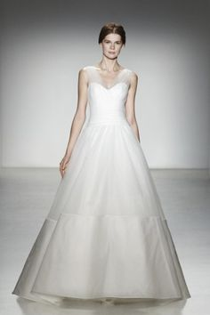 1     2  Soho  Tulle v-neckline gown with silk organza border detail at hem