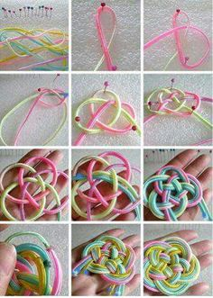 Chinese knot step-by-step pattern tutorial DIY Macrame Knots, Micro Macrame, Macrame Jewelry, Yarn Crafts, Diy And Crafts, Paracord Projects, Paracord Diy, Paracord Tutorial, Diy Projects