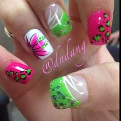Hot pink - Electric green - White n Leopard print - Nail design