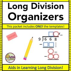 NEW strategy for teaching Long Division using colors and shapes! Visual and spatial learners love this concrete strategy - great for intervention and scaffolding. This is the Division Organizers Only Pack.