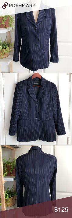 Shop Women's Escada Blue size 36 Blazers at a discounted price at Poshmark. Description: Women's Escada wool navy blue striped blazer. No visible flaws. Navy Blazers, Striped Blazer, Striped Blazer Outfit, Striped Jacket
