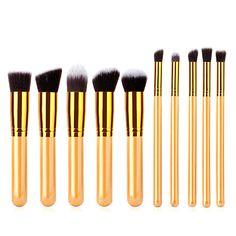 10pcs Makeup Brushes Set Kit Soft Gold Nylon Fiber Cosmetic Tool Beauty