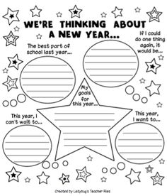 Ladybug's Teacher Files: New Year's Writing Project. Turn it into a full length paper Teaching Writing, Writing Activities, Classroom Activities, Writing Prompts, Teaching Resources, Pre Writing, Teaching Ideas, Classroom Ideas, First Day Of School