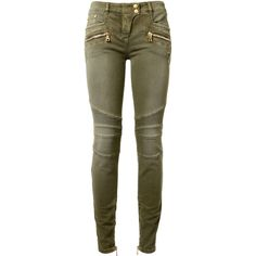 Balmain Khaki Stretch Cotton Biker Jeans ($995) ❤ liked on Polyvore featuring jeans, zipper jeans, low waist jeans, khaki jeans, balmain jeans and skinny biker jeans