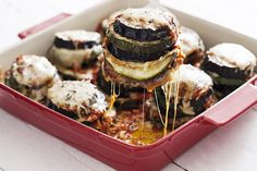 Cheesy zucchini and eggplant stacks. http://fornetto.com/recipes/really-no-meat/