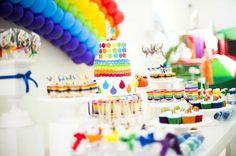 Rainbow Birthday Party via Kara's Party Ideas   Kara'sPartyIdeas.com #Rainbow #Party #Ideas #Birthday #Planning #Supplies (16)