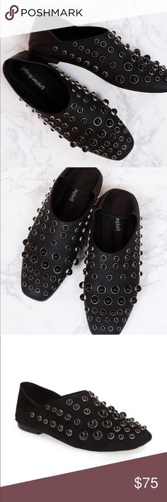 ✨ Jeffrey Campbell Baxley Studded Flat ✨ This season is all about the details, and this flat is no exception. With a notched topline, a squared-off toe and rows of pearlescent beads, this footwear is an absolute standout. Textile or leather upper/leather lining and sole Jeffrey Campbell Shoes Flats & Loafers