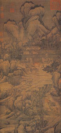 """《盘车图》  宋 佚名 绢本设色 纵10.9厘米 横49.5厘米 北京故宫博物院藏      本幅无作者名款及钤印,裱边有清代著名书画收藏家梁清标的藏印二方。""""盘车图""""题材常见于传统绘画作品,通常描写人力、畜力车辆行进出盘曲的山路间,或运粮、运货,或载人涉渡。此图描绘盘曲艰险的山间栈道上,脚夫们赶着黄牛驾车奋力上坡。向屋后眺望,林木尽头是无数的山峦烟岫。图中以苍浑粗括的笔墨勾勒山峰树石,风格沉郁,山石的画法受郭熙的影响,是宋人无款画中的杰作。"""