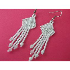 White Pearl and Cats Eye Beaded Fringed Earrings ($13) ❤ liked on Polyvore