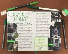 Harry Potter Notebook, Harry Potter Scrapbook, Harry Potter Journal, Harry Potter Diy, Creating A Bullet Journal, Bullet Journal Art, Bullet Journal Inspiration, Draco Malfoy, Notebooks