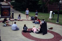 "Incoming freshmen getting to know each other in small group, ""ice breaker"" games."