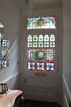 Stained Glass Windows for Bathroom . Stained Glass Windows for Bathroom . W 13 Pale Blue Tudor Stained Glass Window Stained Glass Door, Stained Glass Panels, House Window Design, House Design, Edwardian Haus, White Doors, Mosaic Glass, Windows And Doors, Art Nouveau