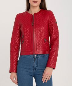 Cazadora roja de piel con descuento Red Leather, Leather Jacket, Jackets, Fashion, Fall Season, Red, Trends, Colors, Studded Leather Jacket