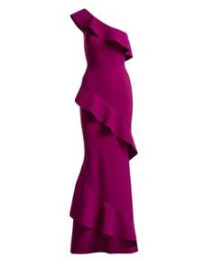 Tremarine One-Shoulder Trumpet Evening Gown w/ Ruffles