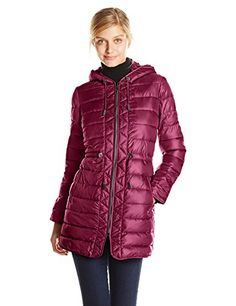 Kenneth Cole Women's Puffer Coat with Cinched Waist in Rum Raisin - http://www.womansindex.com/kenneth-cole-womens-puffer-coat-with-cinched-waist-in-rum-raisin/ Cozy warm puffer coat with hood and slanted pockets