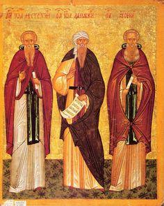Иоанн Лествичник, Иоанн Дамаскин, Арсений Великий [Конец XV — начало XVI вв.] 24 × 19.5 см.