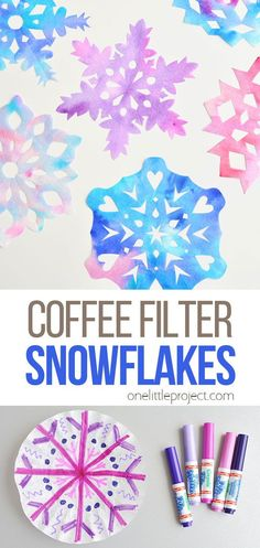 These coffee filter snowflakes are so easy to make and they are SO PRETTY! This is such a fun winter craft idea! A great activity for a snow day but simple enough to do in the classroom at school. These snowflakes make beautiful sun catchers and are a great Christmas decoration that can stay up all winter long! Christmas Projects For Kids, Christmas Crafts To Make, Winter Crafts For Kids, Holiday Crafts, Paper Crafts For Kids, Easy Crafts For Kids, Fun Crafts, Coffee Filter Crafts, Coffee Crafts