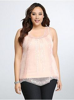 "<p>This is one show-stopping blush tank! A modern take on roaring 20's style, the tank has a beautifully beaded design that's accented by a gorgeous sequin pattern. A mesh hanky hem gives this posh number a swingy finish.</p>  <p> </p>  <p><b>Model is 5'10"", size 1</b></p>  <ul> 	<li>Size 1 measures 28 3/4"" from shoulder</li> 	<li>Polyester</li> 	<li>Hand wash cold, dry flat</li> 	<li>Imported plus size tank</li> </ul>"