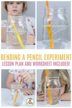 The bending pencil experiment is a fun light refraction science experiment for kids! Get the lesson plan and worksheet to make things easier! Kindergarten Science Experiments, Science Lesson Plans, Easy Science Experiments, Science Fair Projects, Preschool Science, Science Chemistry, Stem Projects, Science Fun, Physical Science