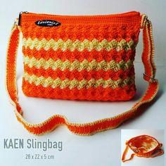 KAEN sling bag. Crochet diamond stitch handmade.