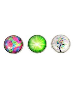 Love this Green Rhinestone & Silvertone Tree Interchangeable Snap Charm Set on #zulily! #zulilyfinds