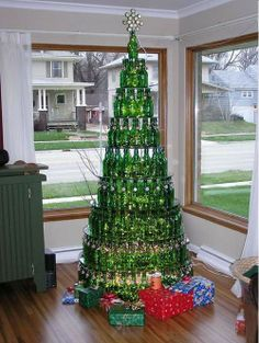 Christmas tree made of bottles