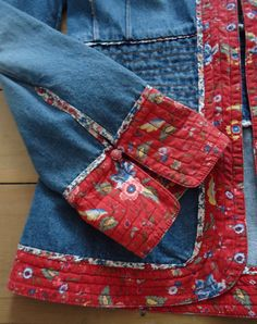 Vintage denim and floral folklore H