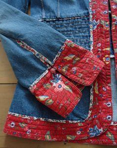 Vintage denim and floral folklore H&M jacket, size 12