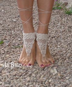 Crochet Barefoot Sandals Tan Barefoot sandlesBeach by AkBro