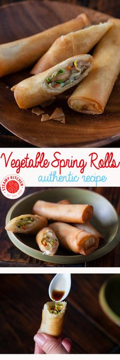 Easy and authentic Vegetable Spring Rolls Recipe with step-by-step video by recipe developer, TV chef and cookbook author, Jaden of Steamy Kitchen Vegetable Egg Rolls, Vegetable Spring Rolls, Chicken Spring Rolls, Vegetable Lumpia, Onigirazu, Vegetarian Recipes, Cooking Recipes, Vegetarian Appetizers, Cooking Ideas