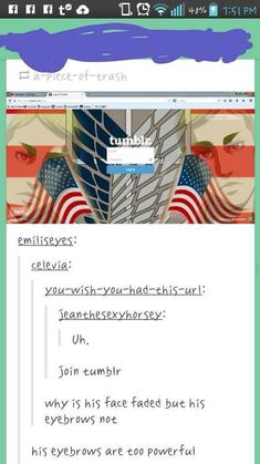 I want to know why there are American flags. I mean, it's made by the Japanese and set in Germany. And for Hetalia fans eyebrows are England's thing.