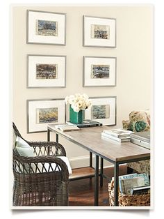 Decorating Small Spaces | We need a new private board for decorating your new apartment! I like how the pics go below the level of the table. Adds depth to the room.
