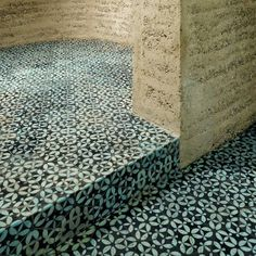 KuQua-hex flowing down the step Handmade Tiles, Building Materials, Animal Print Rug, Concrete, House Design, Ceramics, Flooring, Interior Design, Glass