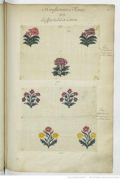 Manufactures à Rouen // 1737 // Etoffes de fil et cotton : Toille // de Cotton brochée // en demie aune // a 3 ♯ 14 s. L'aune : [échantillons de tissus]