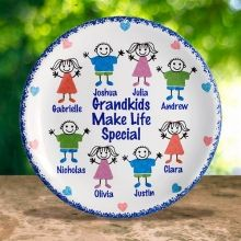#GrandparentsDay Personalized Porcelain Grandkids Character Keepsake Plates. Cherish family memories forever with our personalized Grandkids Plate. Each plate can be decorated with up to eight grandkids. This porcelain plate makes a extra special gift for any grandparent that can be hung on a wall or displayed on a plate stand.