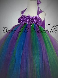 Flower Girl Dress Peacock Colors All Sizes Baby by Baby2BNashville