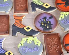 Check out our decorated witch cookie selection for the very best in unique or custom, handmade pieces from our shops. Cookie Icing, Royal Icing Cookies, Halloween Party Favors, Halloween Fun, Shoe Cookies, Halloween Cookies Decorated, Iced Cookies, Sugar Cookies, Witch Shoes