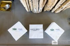 Custom Napkins for White Door Events and Simply Delicious Caterings