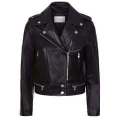 Sandro Vega Leather Biker Jacket ($515) ❤ liked on Polyvore featuring outerwear, jackets, tops, genuine leather jackets, leather zip jacket, rider leather jacket, zip jacket and biker jacket