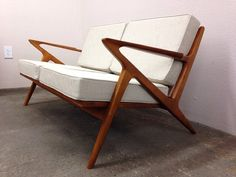 SALE! Danish Mid Century Modern Style Teak Love Seat - Selig Z Style Wood Sofa Couch